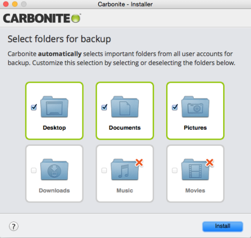 Carbonite Mac 2.x Client: Select folders for backup