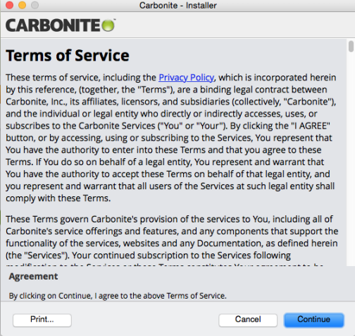 Carbonite Mac 2.x Client: Terms of Service