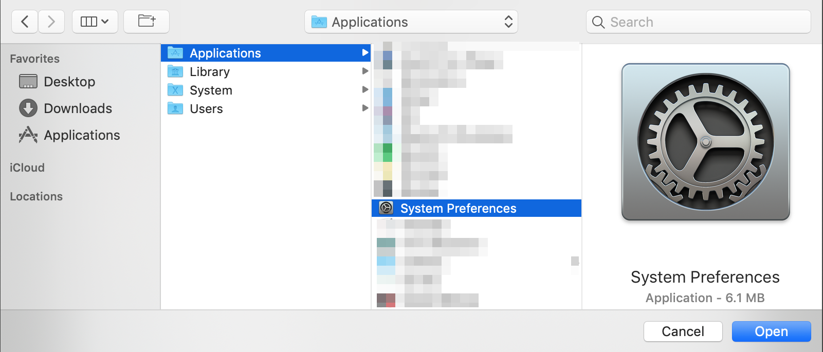 macOS Full Disk Access: Click +, select System Preferences, and click Open