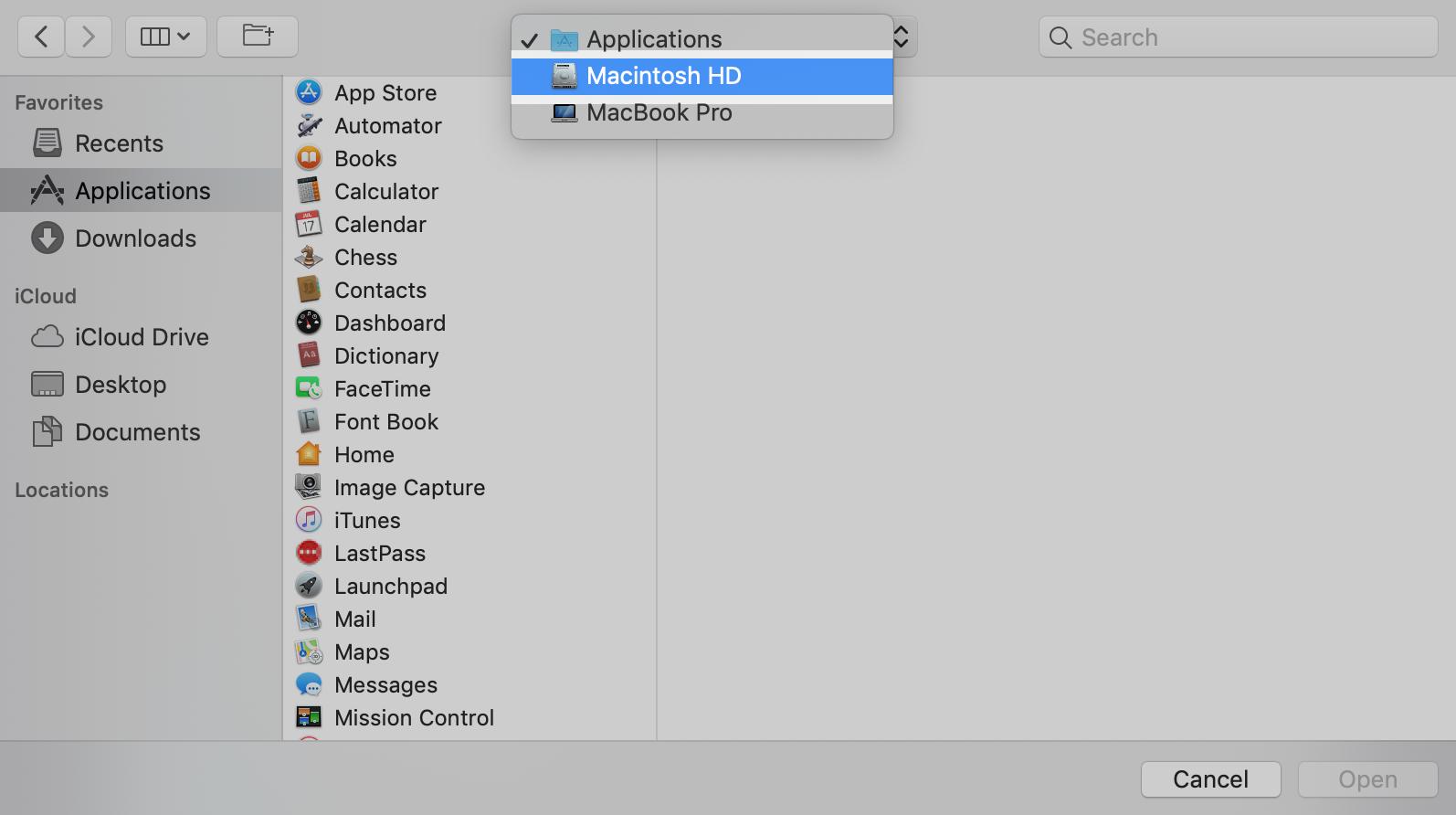 macOS Full Disk Access: Click the dropdown menu and select Macintosh HD