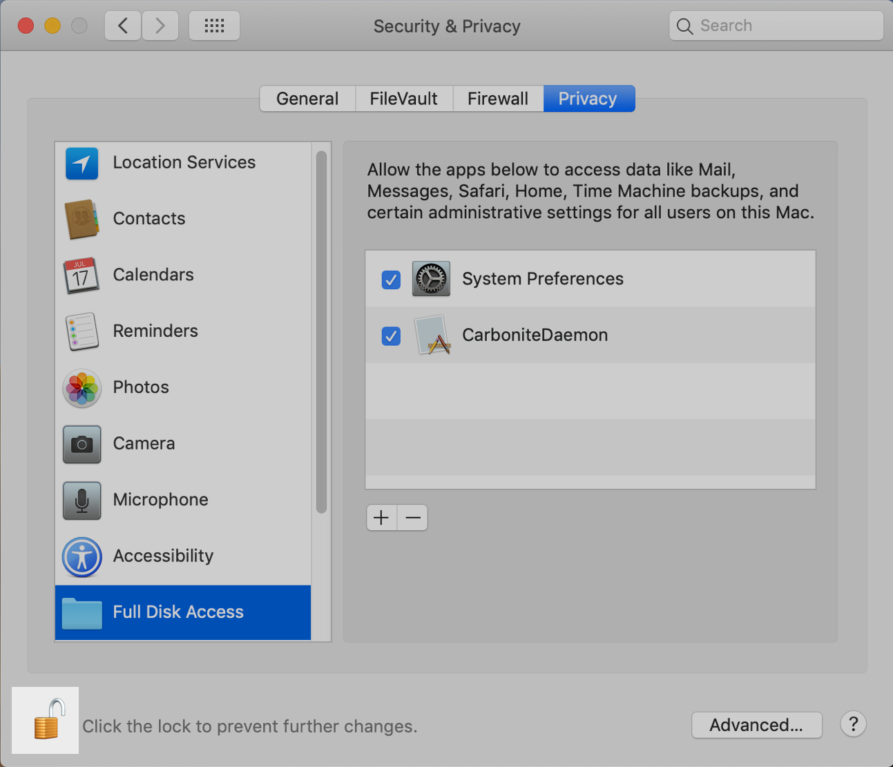 macOS System Preferences: Click Padlock to prevent changes