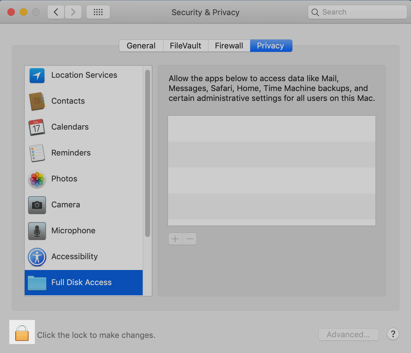 macOS System Preferences: Click Padlock