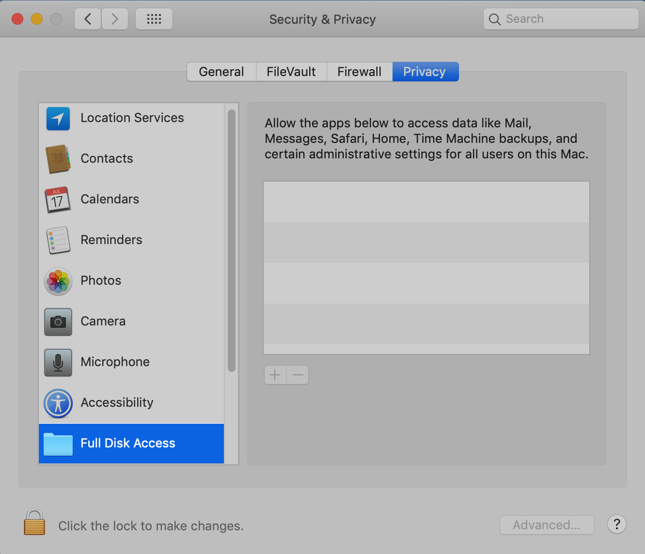 macOS Privacy tab: Select Full Disk Access