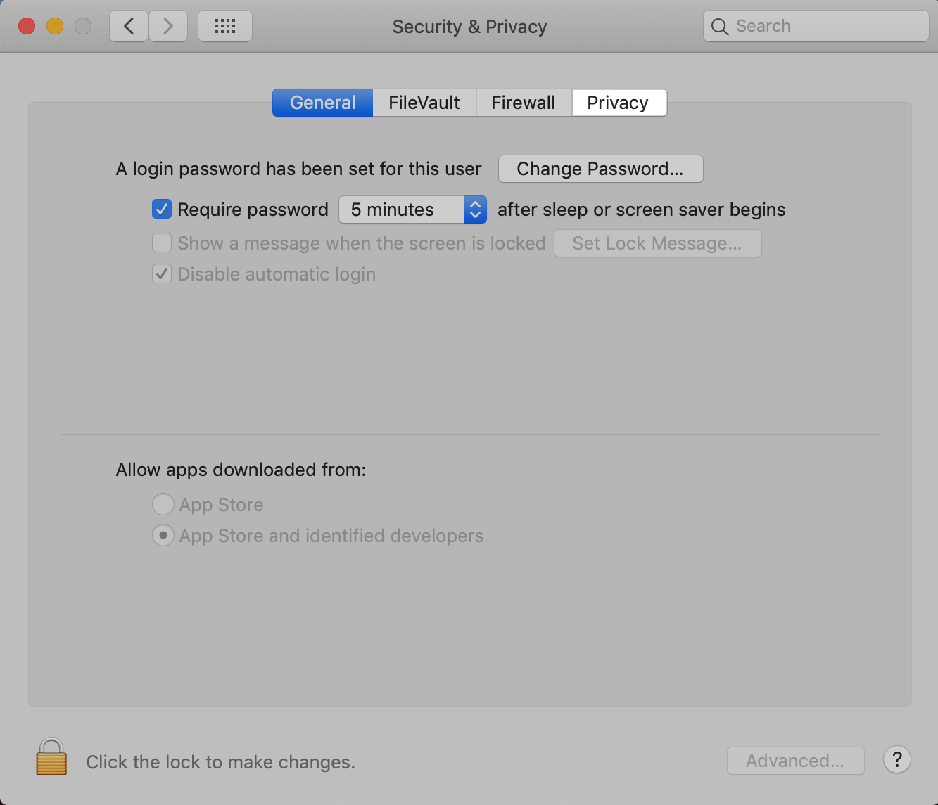 macOS Security and Privacy: Click the Privacy tab