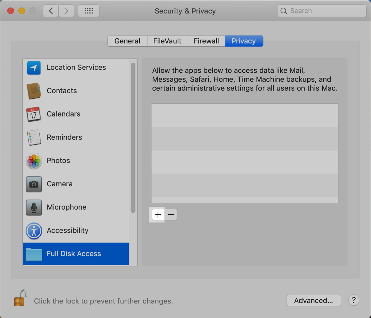 macOS System Preferences: Click +