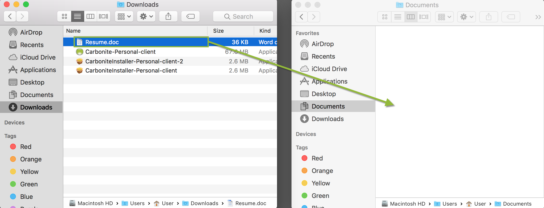 macOS Finder: Dragging and dropping files from Downloads to Documents