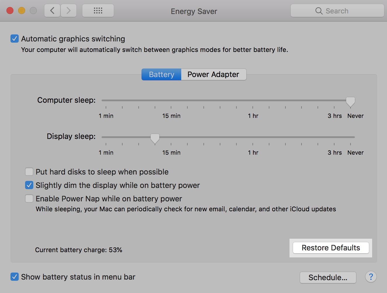 macOS Energy Saver: Restore Defaults