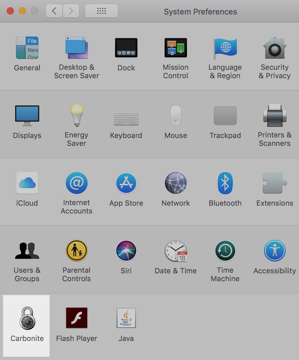 macOS System Preferences: Carbonite