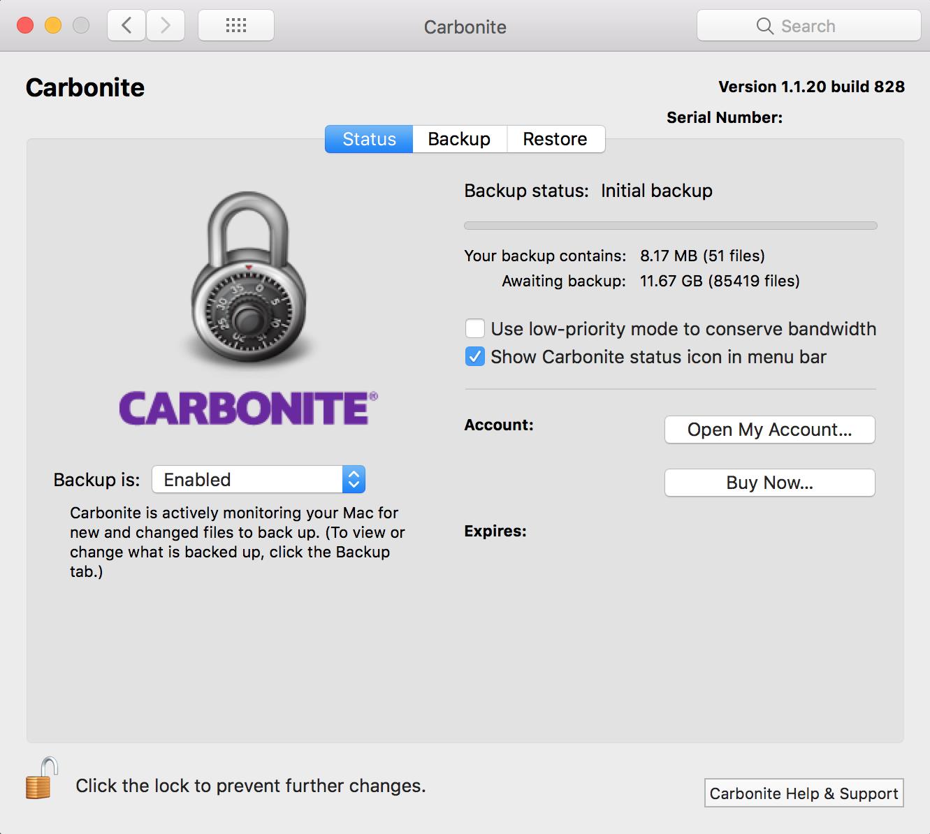 Carbonite Mac 1.x Client: Status