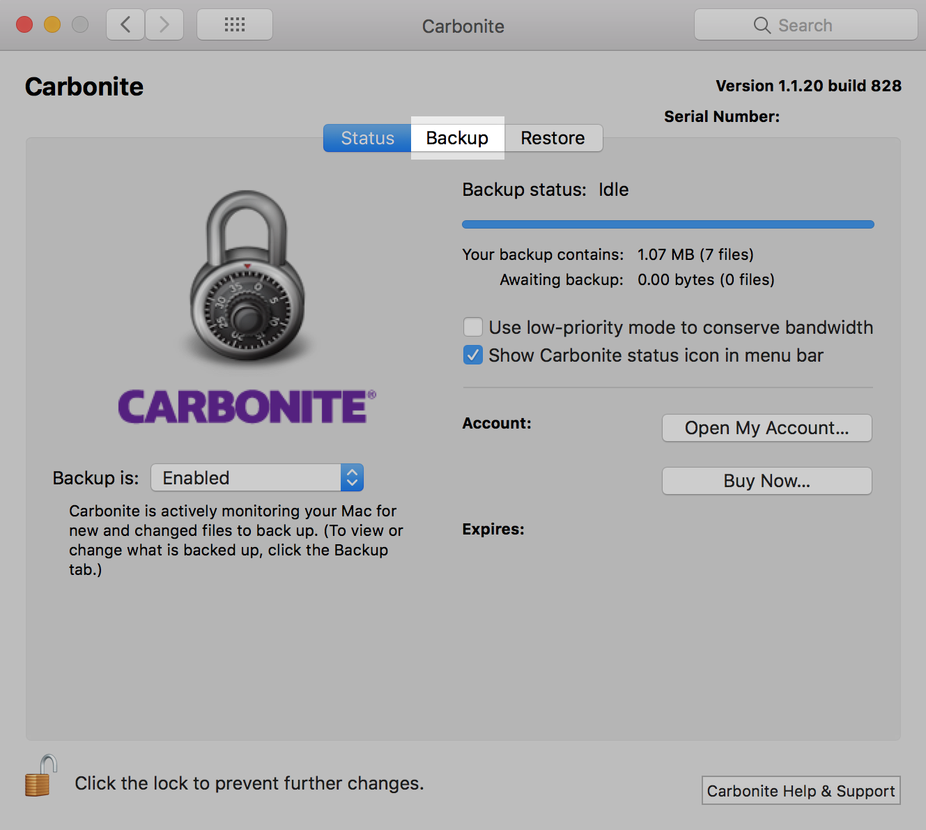 Carbonite Mac Client: Backup tab