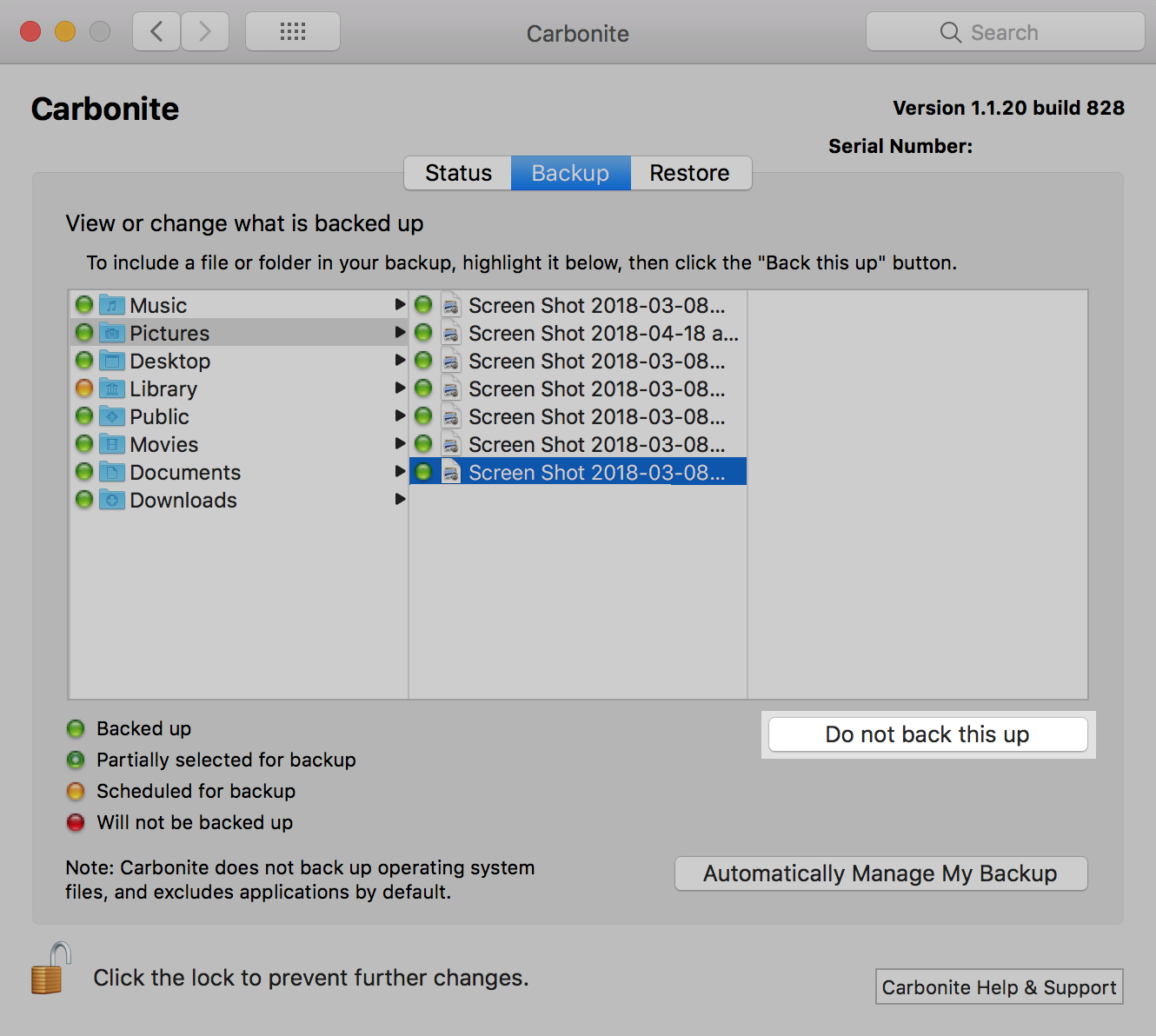 Carbonite 1.x for Mac: With the file selected, click Do not back this up.