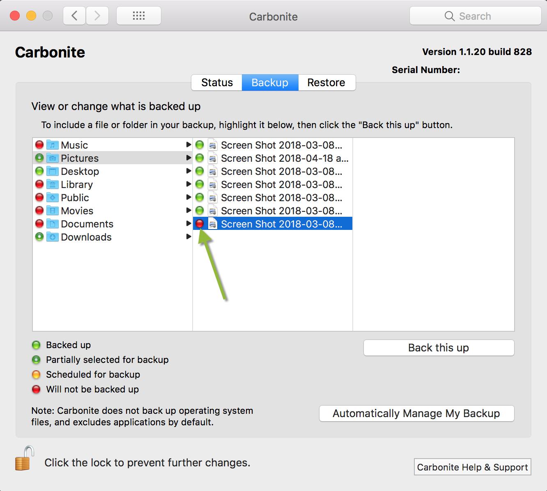 Backup Tab: File not Backed Up