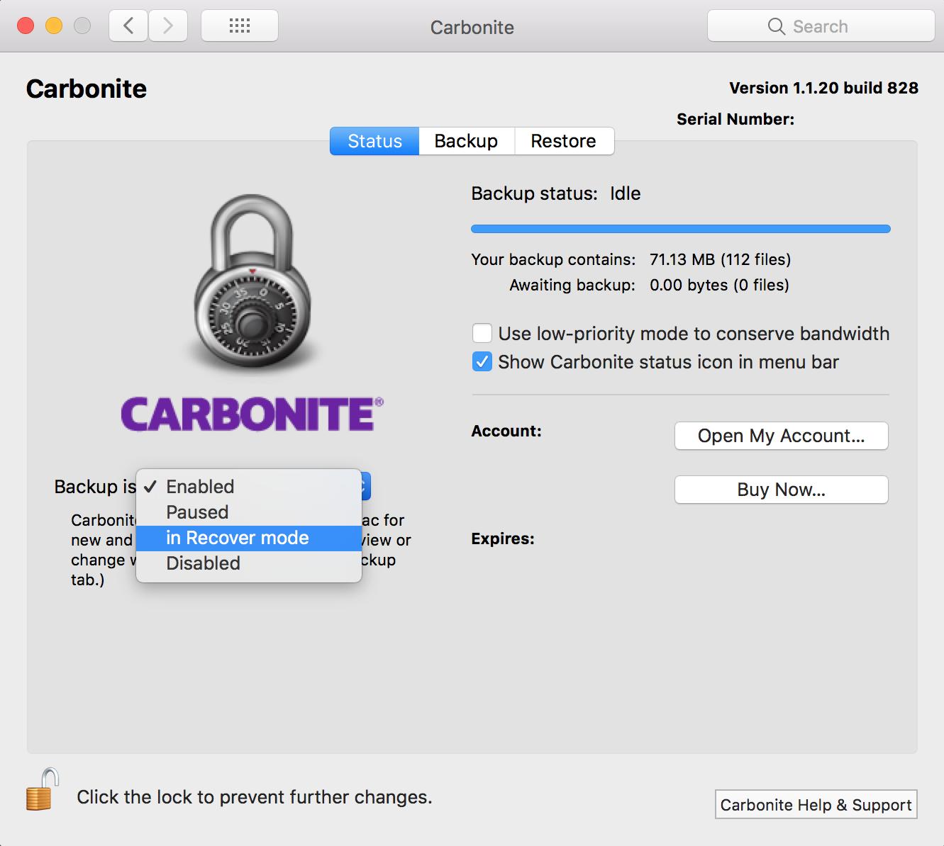 Carbonite Preference Pane
