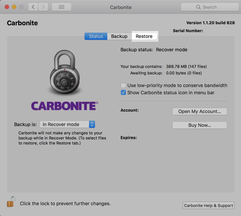 Carbonite Preferences Pane