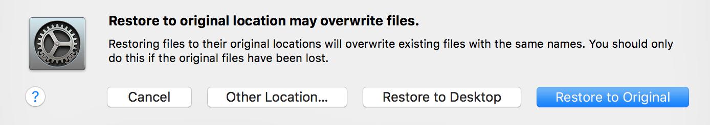Carbonite Mac 1.x Client: Restore to Original