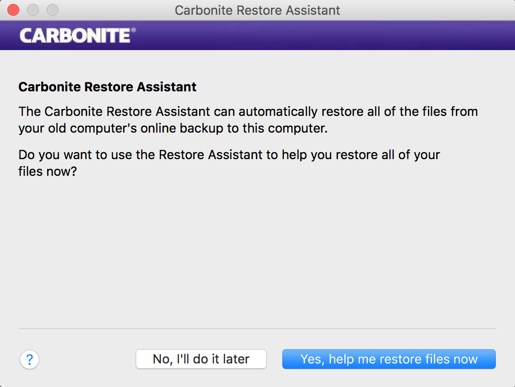 Do you want to use the Restore Assistant