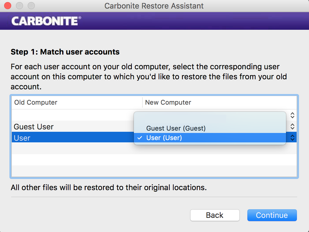 Restore Assistant: Step One