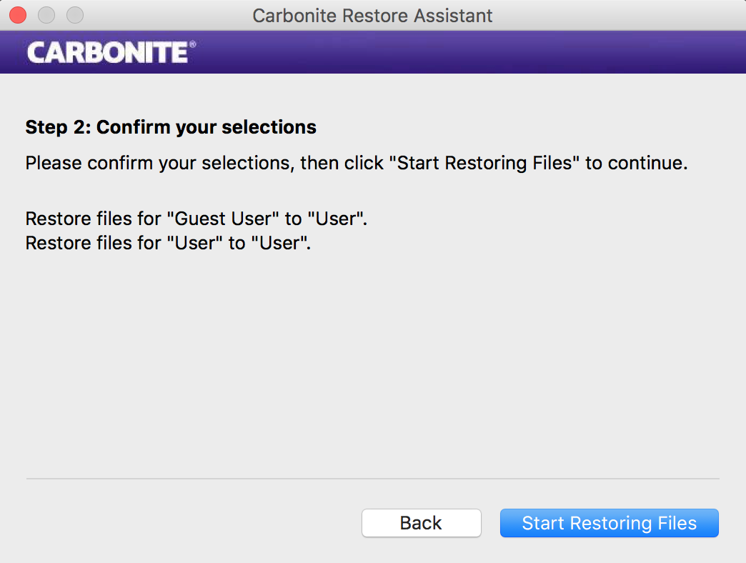 Restore Assistant: Step Two