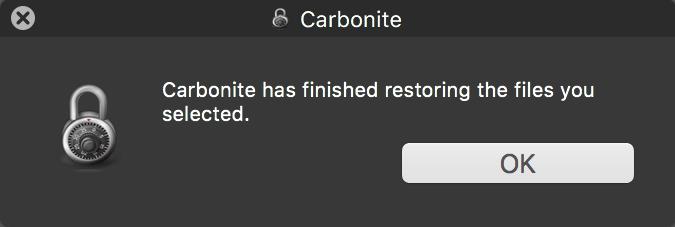 Restore complete pop-up