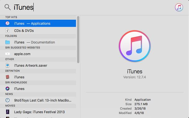 macOS Spotlight: Searc iTunes