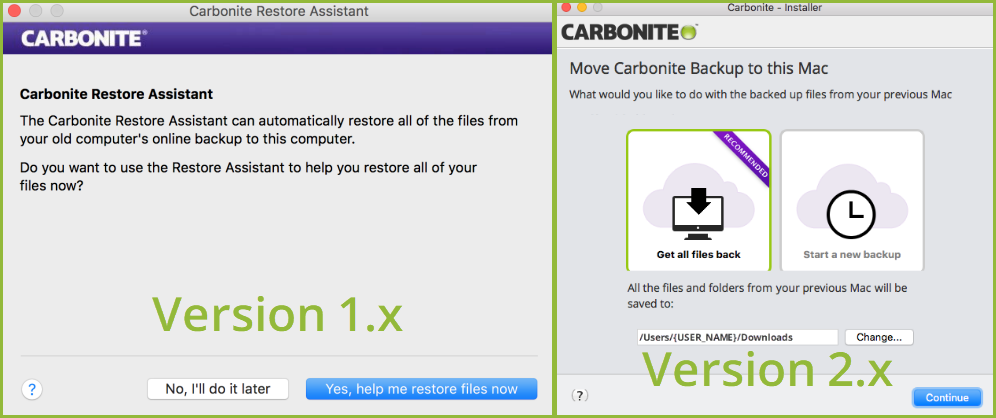 Version 1.x is a system preference shown on the left and Version 2.x is an application shown on the right.