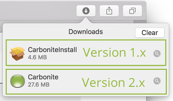 Downloads: Carbonite 1.x vs Carbonite 2.x
