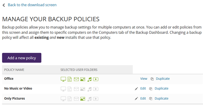 Manage Backup Policies