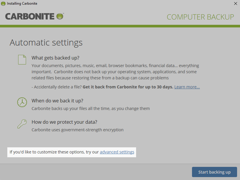 Carbonite Client: Click advanced settings