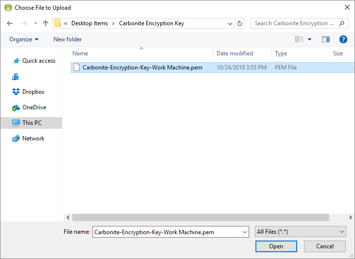Carbonite Client: Click Load Encryption Key