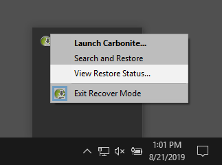 Right-click on the Carbonite icon and click View Restore Status...