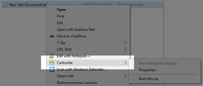 File Explorer showing ''Carbonite'' in the right-click menu