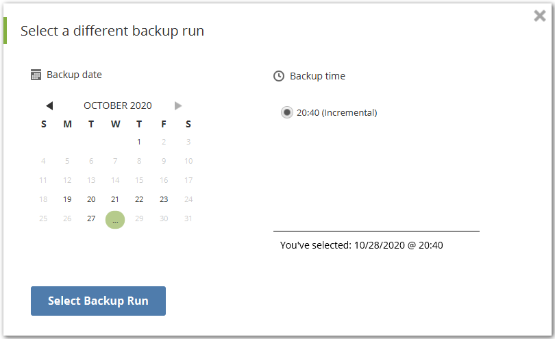 Selecting a different backup run via calendar view