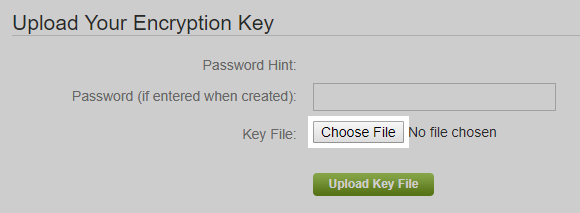 Carbonite Safe Portal: Click Choose File to select the .PEM file and click OK once the file is selected