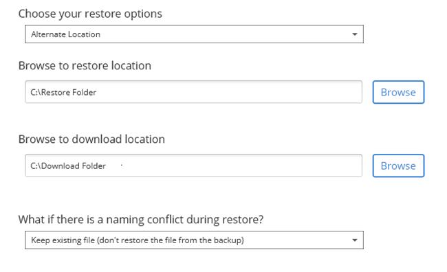 Restore Location / Download Location