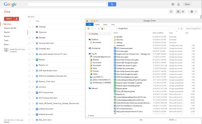 Files synched back to Google Drive