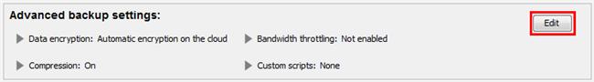 Edit Advanced Backup Settings