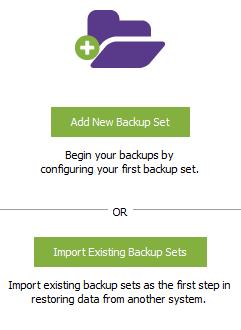 Configure or Import Backup Sets