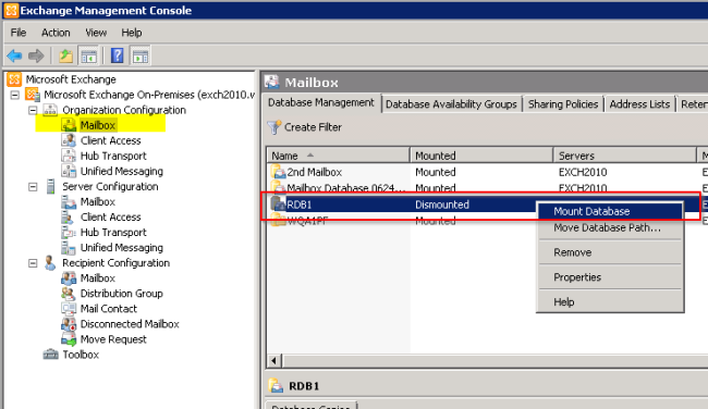Mount-Database (exchange) - docs.microsoft.com