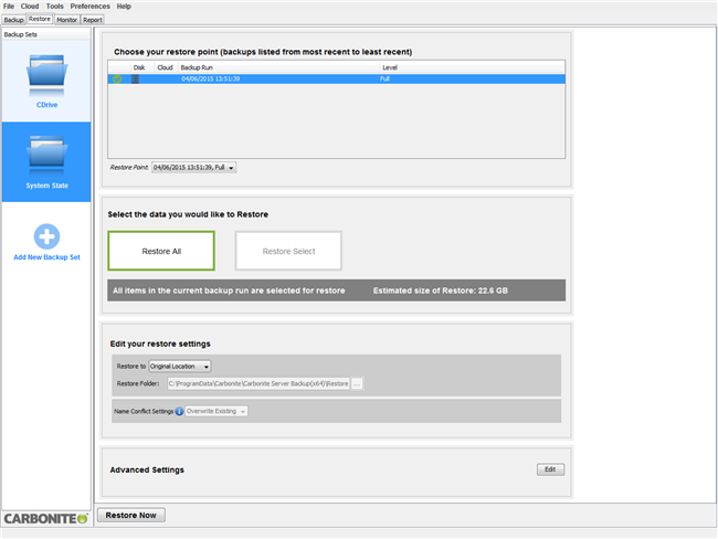 Restore SystemState Backup Set