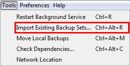 Select Import Existing Backup Sets