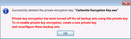 Successful Deletion of Encryption Key