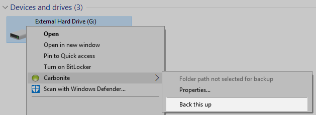 Windows File Explorer: Right-click Back this up