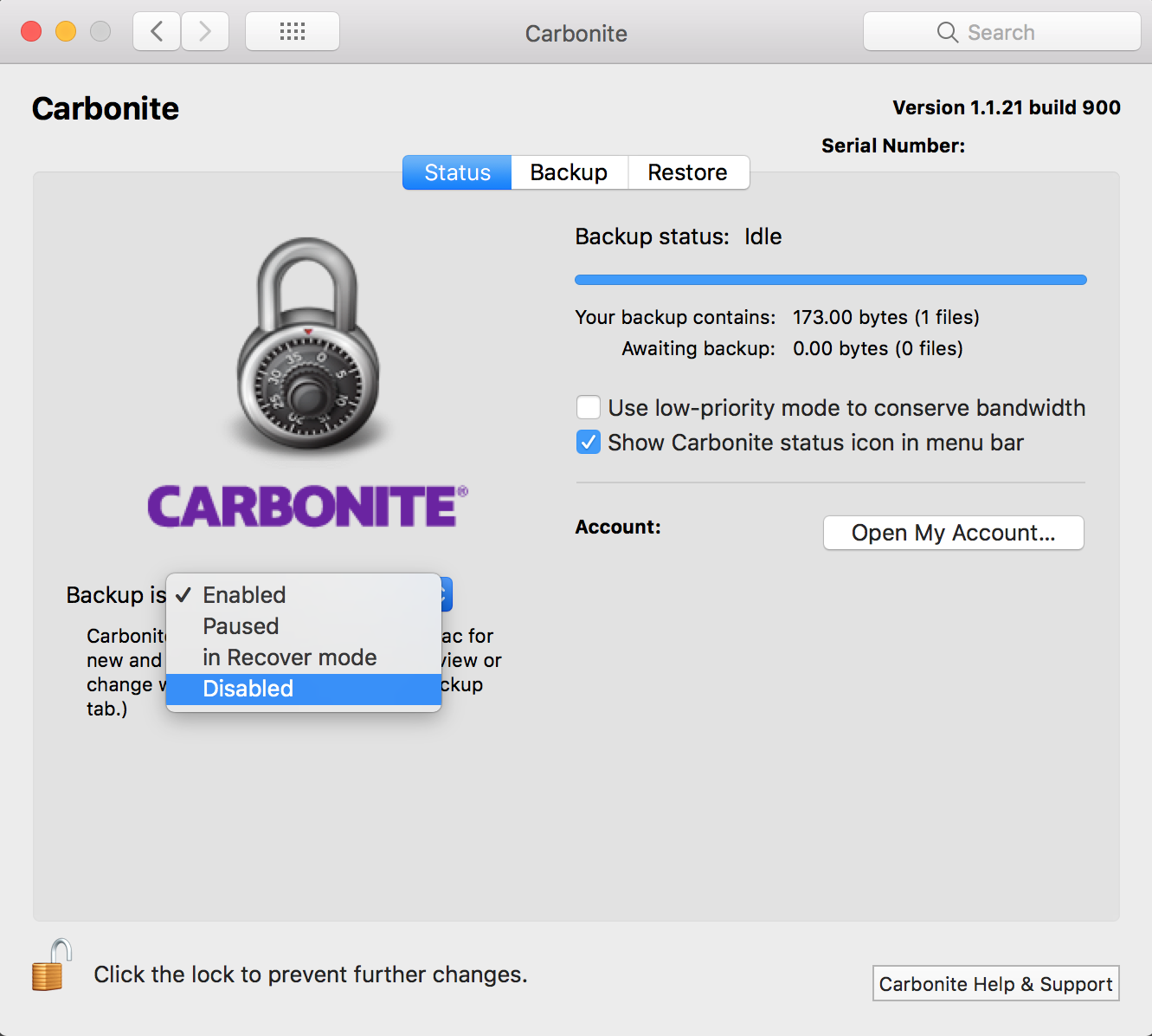 Carbonite Preferences Pane: Disable