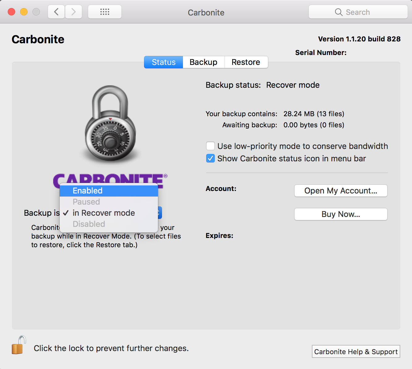 Carbonite 1.x Client: Set Backup is drop-down menu to Enabled