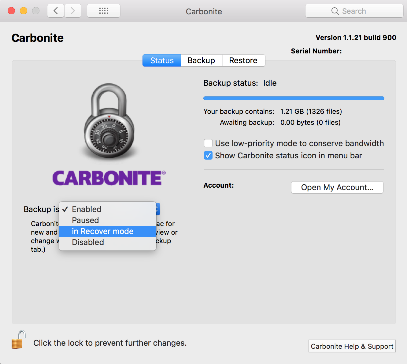 Carbonite Mac 1.x Client: Backup is in Recover mode