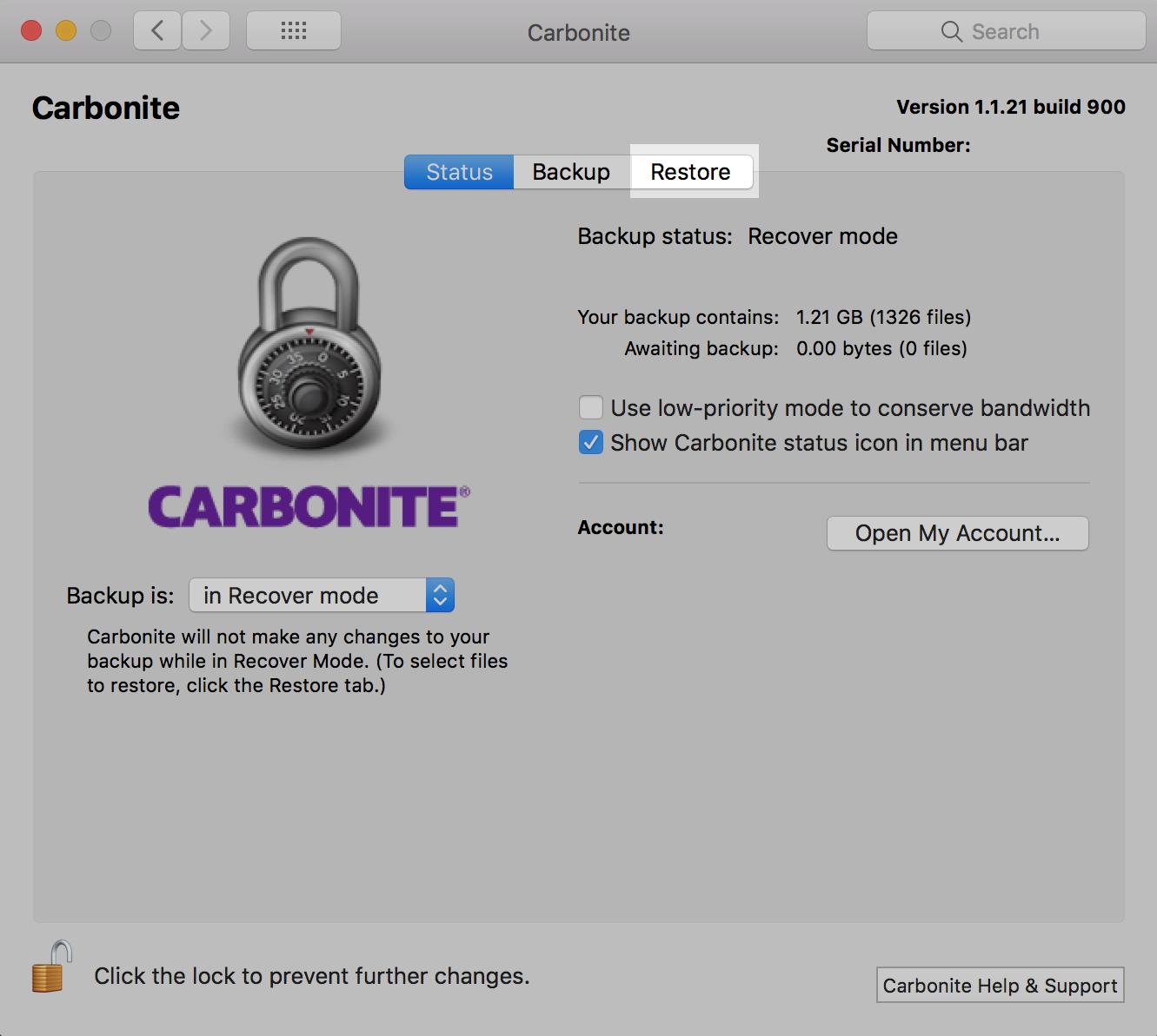 Carbonite Mac 1.x Restore Tab