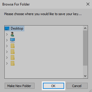 Windows Explorer: Browse to the folder you wish to save the file and click OK
