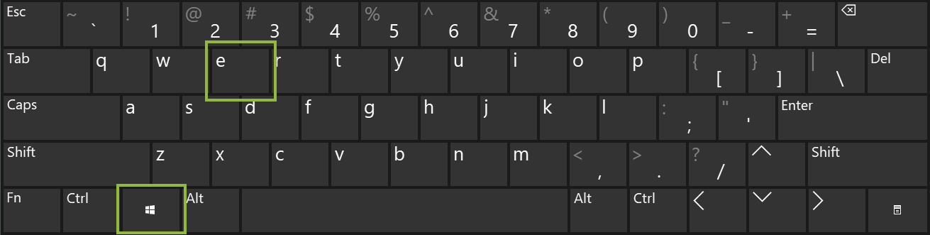 Windows Keyboard: Press the Windows Key and the E Key on your keyboard